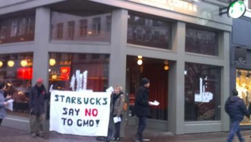 Flyer action at Starbucks in Amsterdam