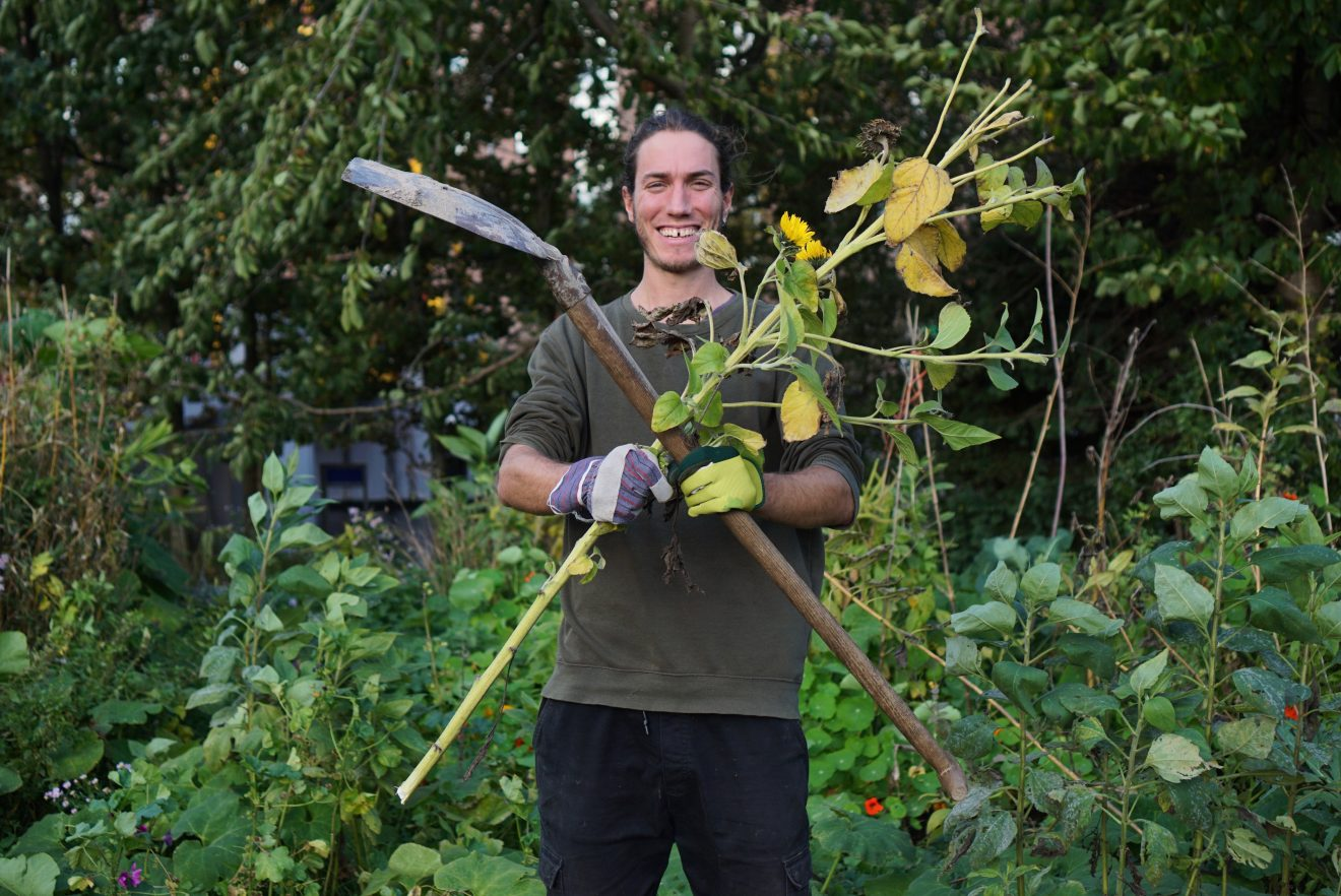A man holds a shovel and a sunflower stalk and calls for good food and good farming
